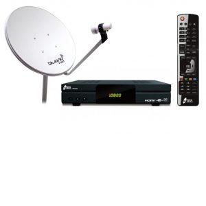 Kit de antena parabólica y decodificador con mando